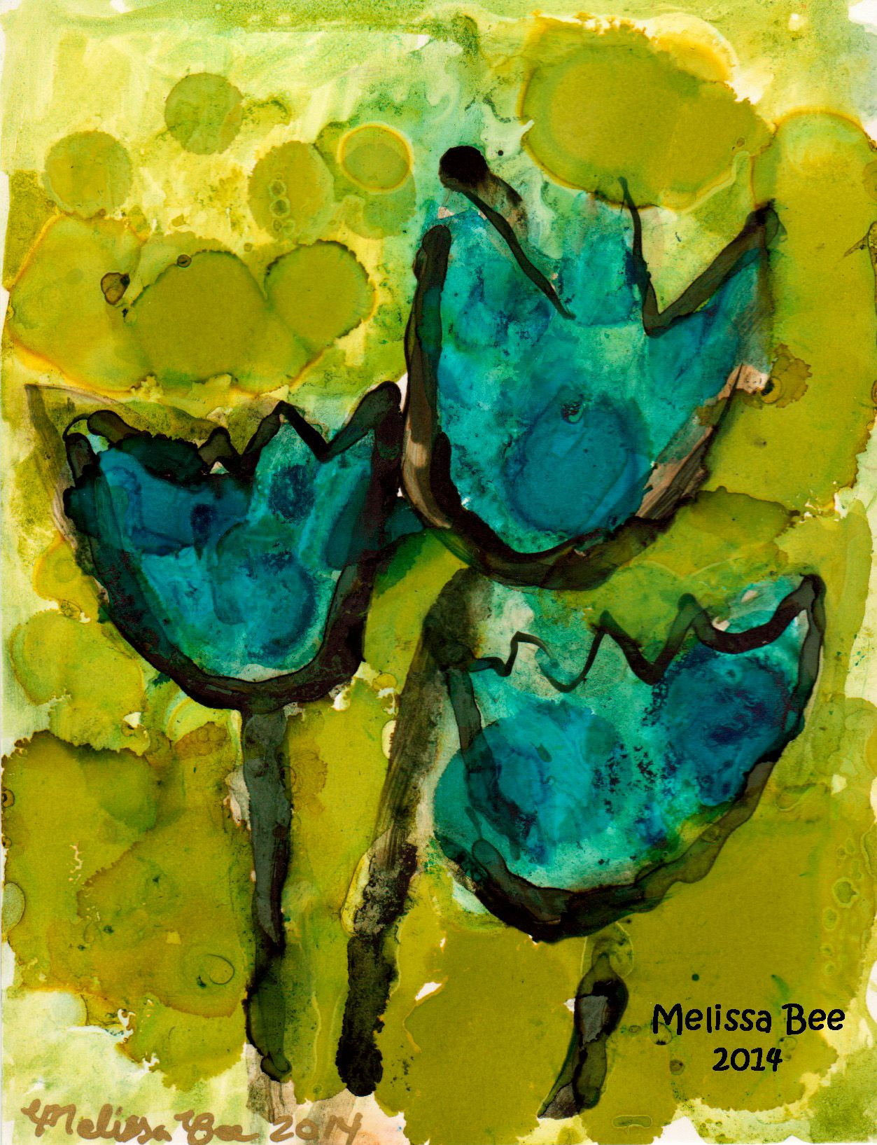 Art - Blue Tulips alcohol ink drawing / painting by Denver artist Melissa Bee