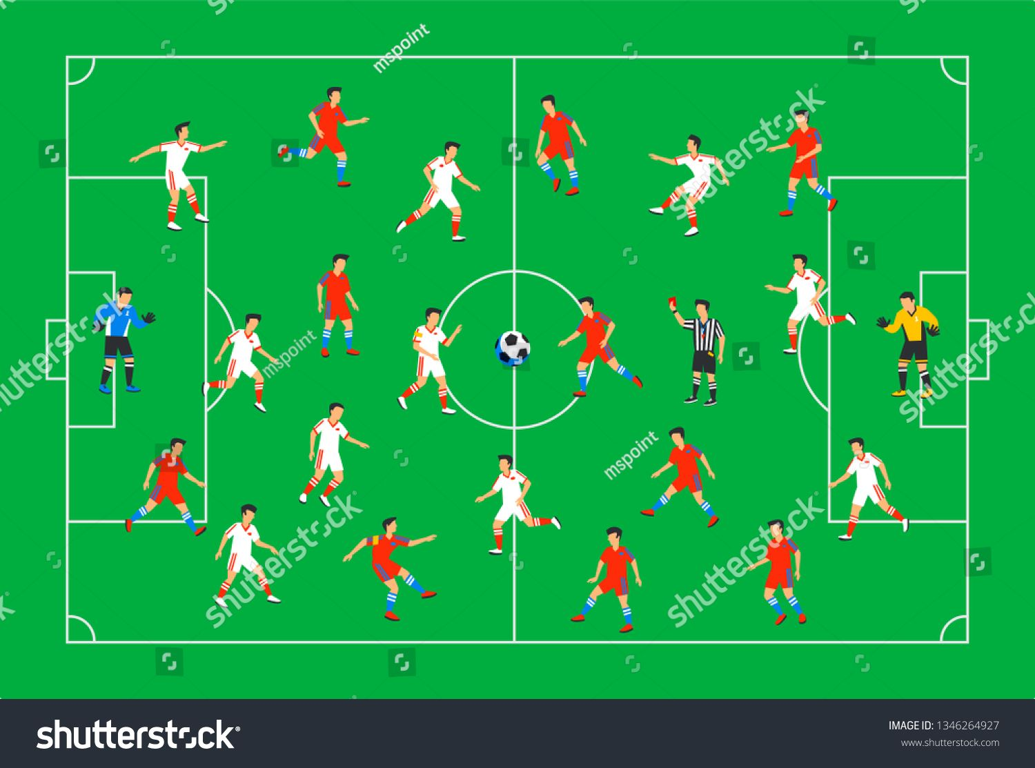Football Players On A Green Field Soccer Players On Different Positions Playing Football On A Sta Playing Football Presentation Design Template Soccer Players