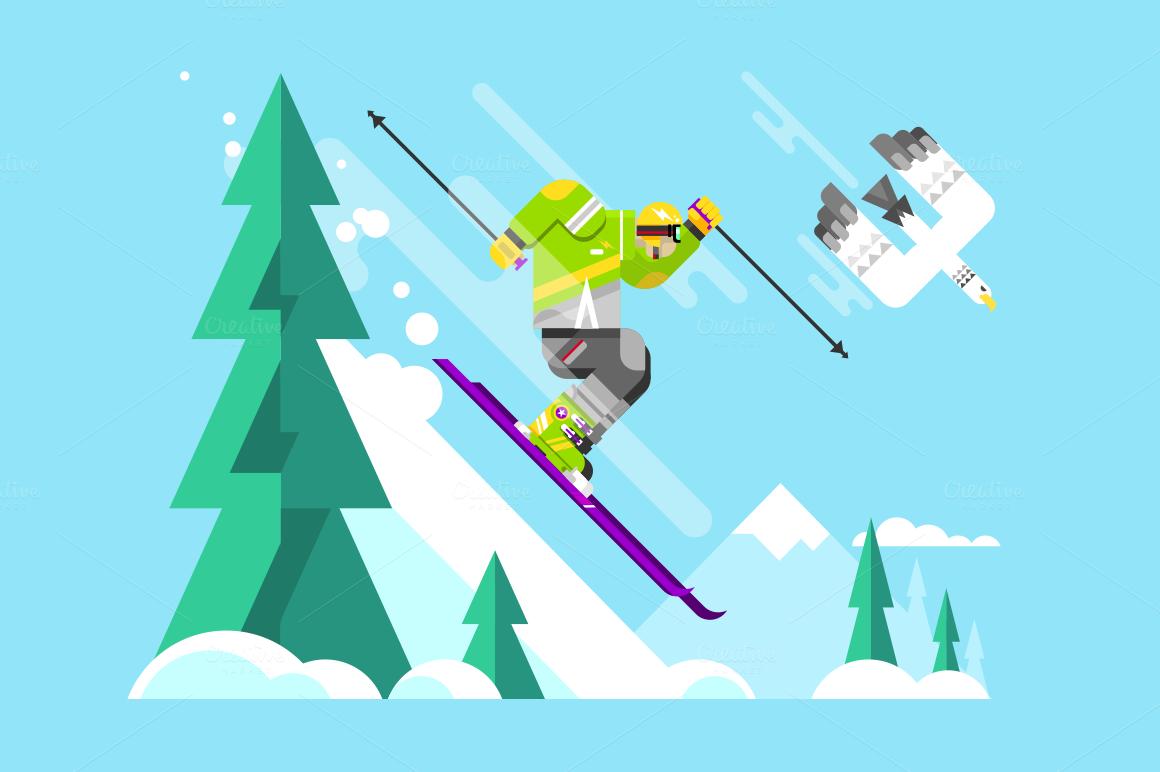 Skier Character Illustration Web Graphic Design Vintage Ski Posters