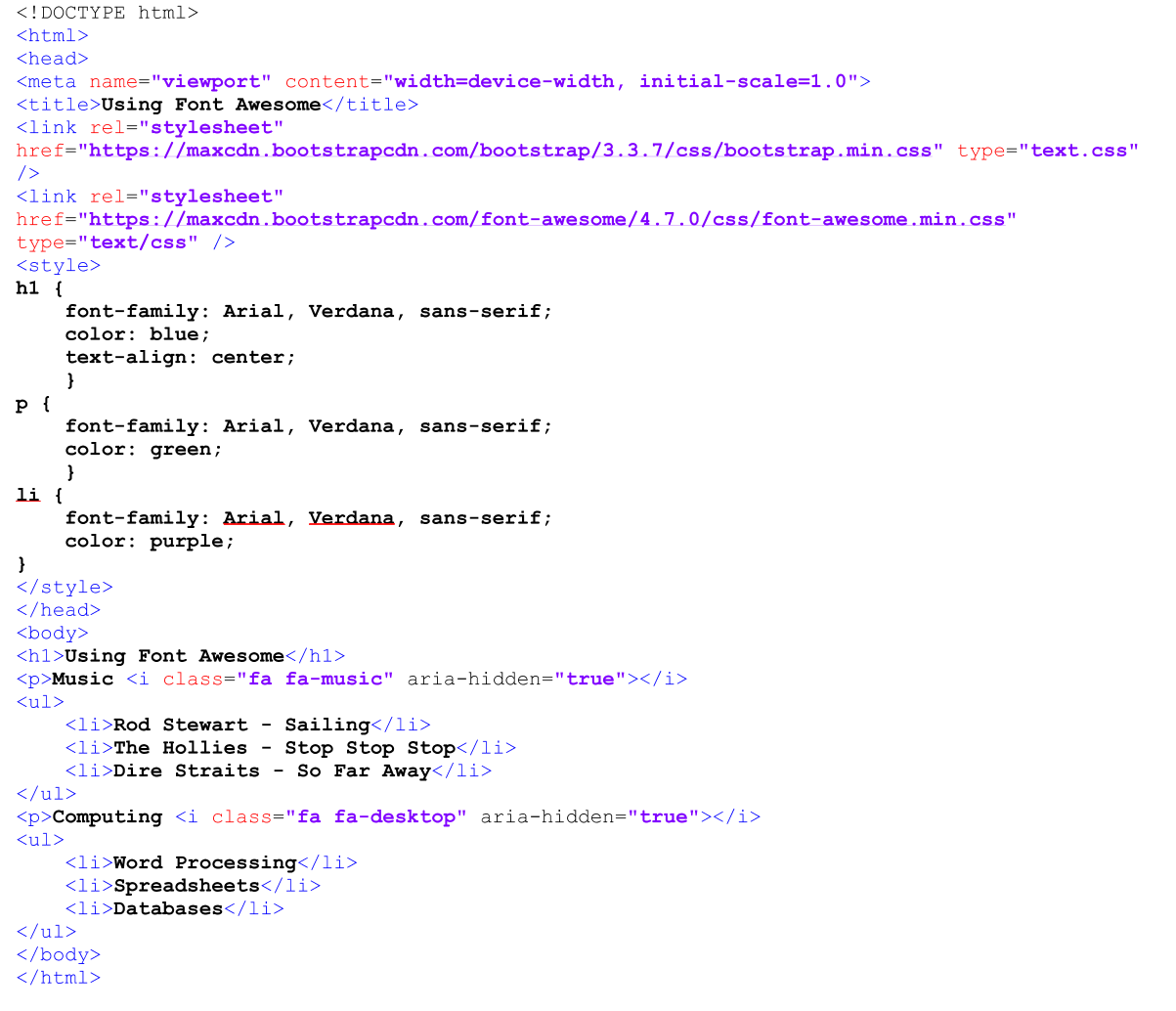 HTML and Internal Style Sheet for Heading H1, List Items