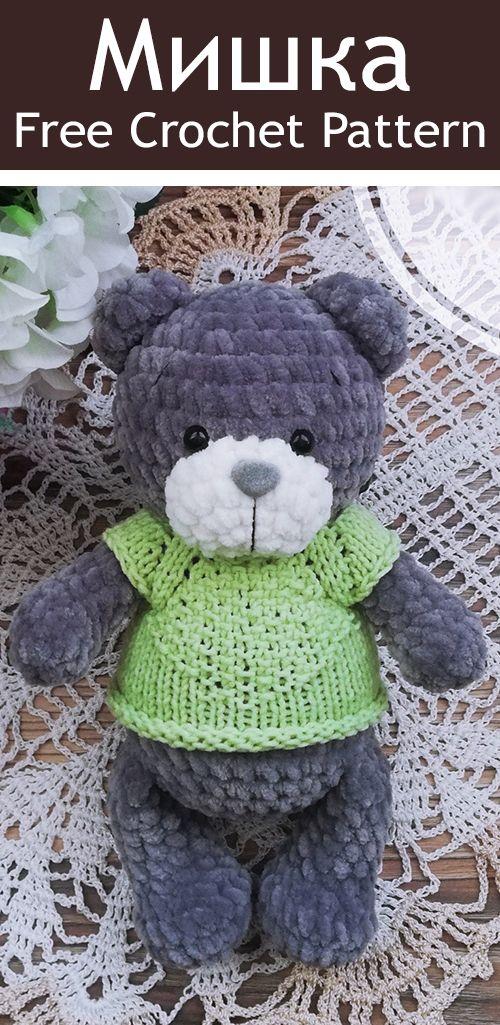 PDF Мишка крючком. FREE crochet pattern bear; Аmigurumi doll patterns. Амигуруми схемы на русском. #freeamigurumipatterns