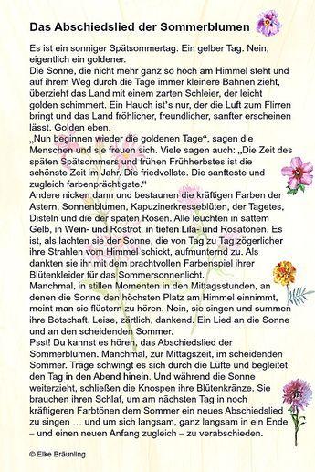 Das Abschiedslied der Sommerblumen | Geschichten für