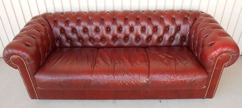 Chesterfield Style Natuzzi Italian Leather Sofa Red Button Back Clean Used  NR | EBay