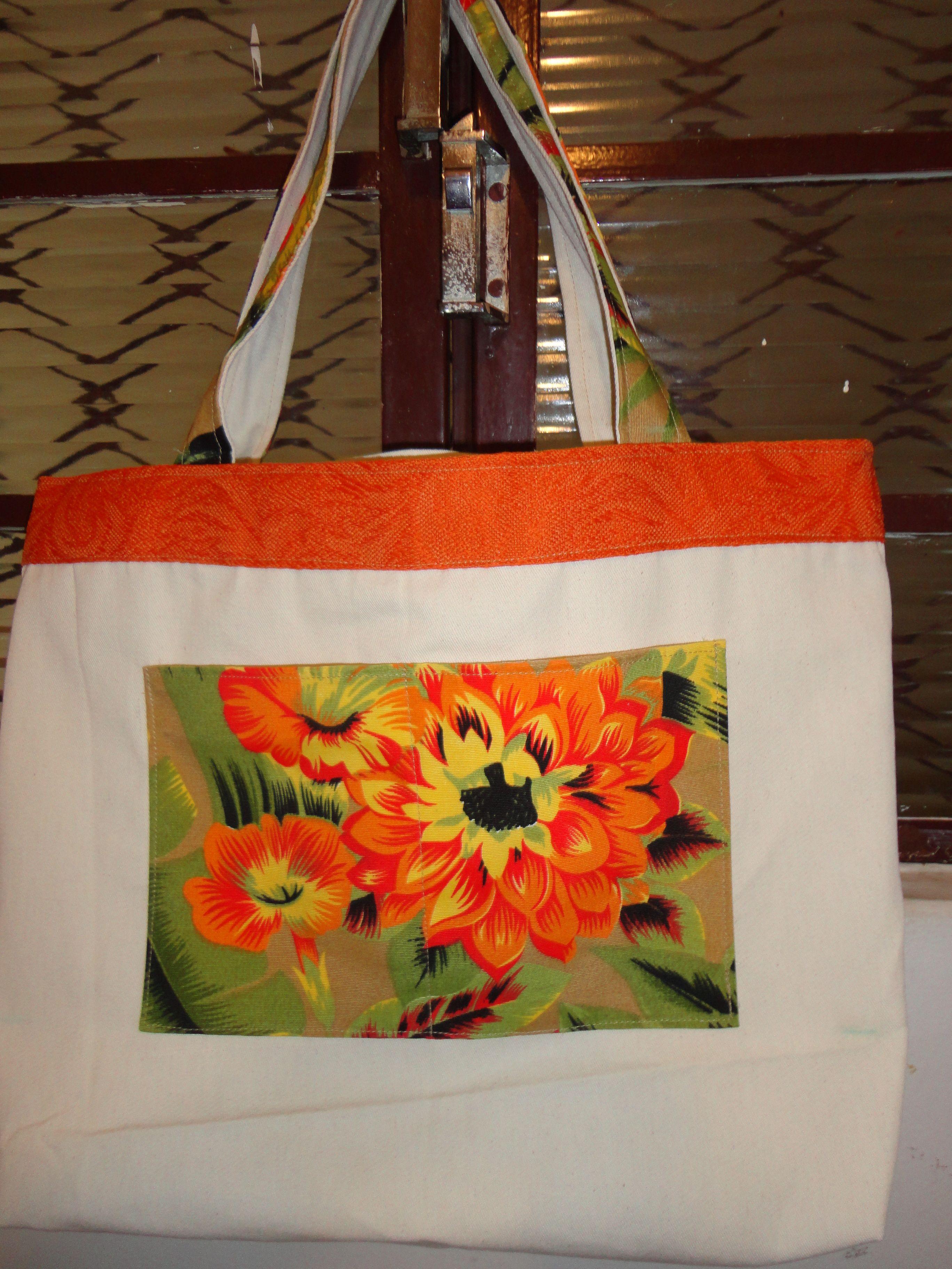 Bolsa De Tecido De Algodão Cru : Bolsa de algodao cru com chita artes tecido