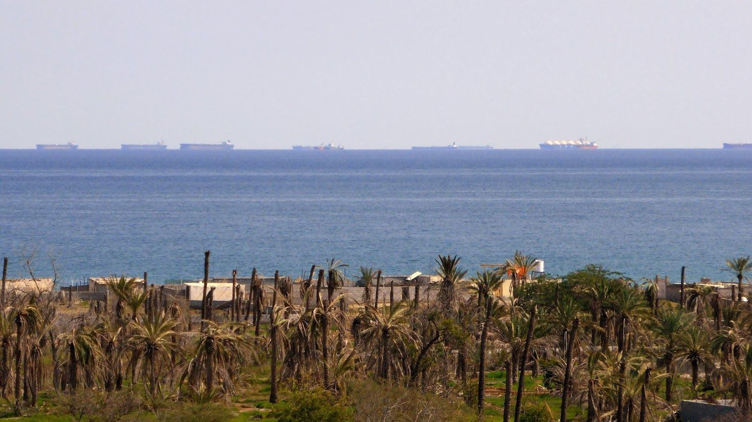 Tankers lined up toward the Straits of Hormuz, view from Biddiyah, UAE
