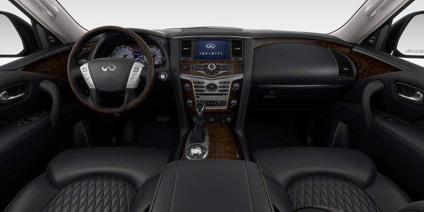 2019 Infiniti Qx80 Luxury Suv Interior Graphite Leather And Stratford Burl Trim Luxury Suv Infiniti Usa Infiniti