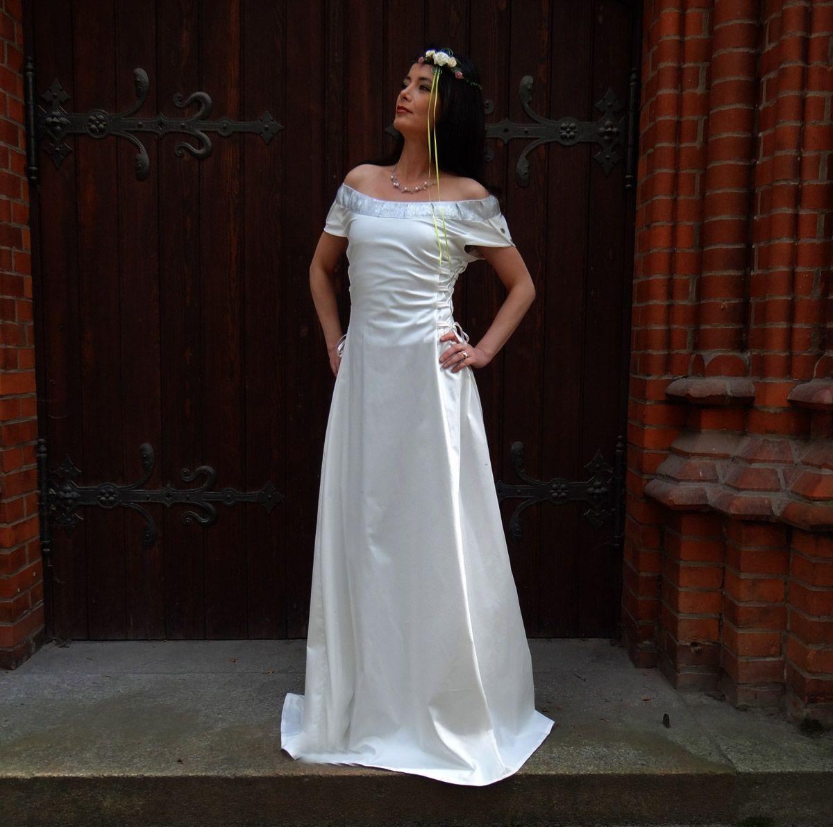 Elfenkleid Brautkleid Hochzeitskleid Elfen mit breiter Silberborte