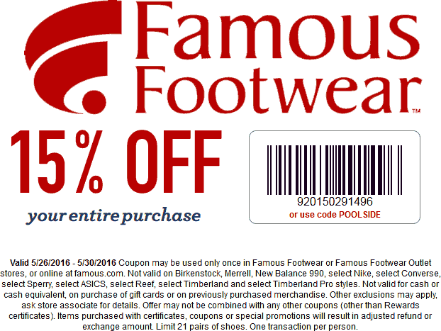 15 Off At Famous Footwear Or Online Via Promo Code Poolside Famous Footwear Shopping Coupons Promo Codes