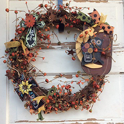 AG Designs Fall Harvest Decor - Pip Berry Grapevine Wreath - Cross