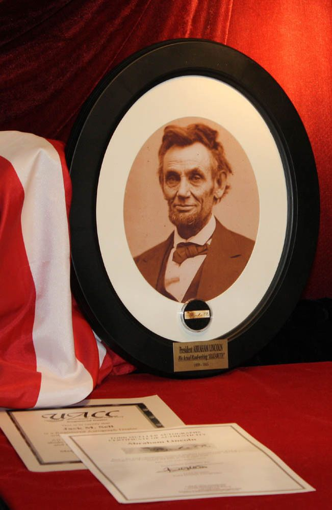 abraham lincoln signed in his hand elizabeth autograph frame coa plaque uacc