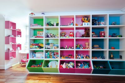 Interesting Kids Playroom Design Ideas: White Attic Stule Childsroom With  Pink And Green Storage Cubes And Spiderman