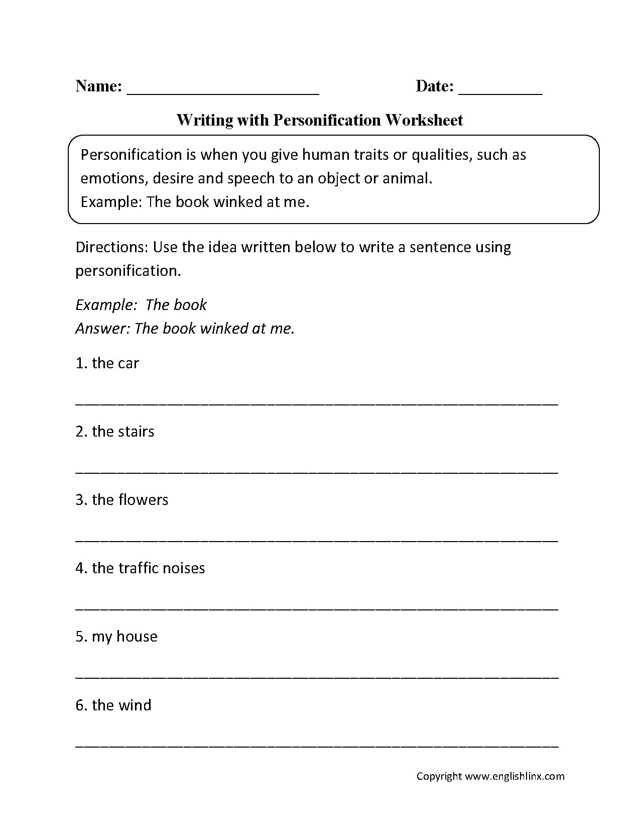 Writing with Personification Worksheet   Personification [ 1662 x 1275 Pixel ]