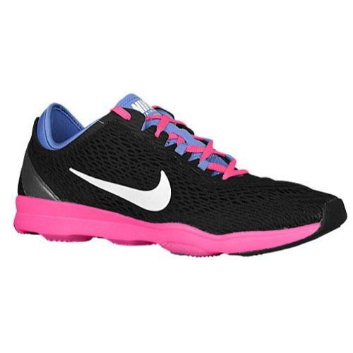 Nike Women's Wmns Zoom Fit , BLACK/WHITE-POLAR-PINK POW, US. Sandwich mesh  and synthetic materials upper. Synthetic rubber outsole with pods.
