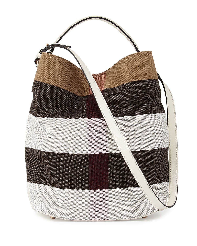 Ashby Medium Mega Check Bucket Bag, White - Burberry    Neiman ... b901fa5e73