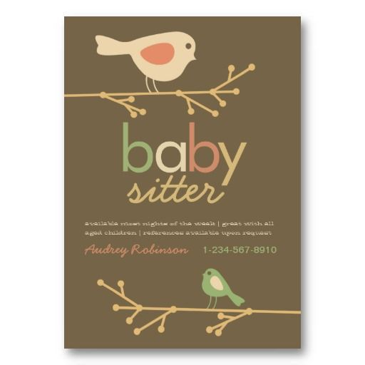 Mod Birds Baby Sitter Business Card