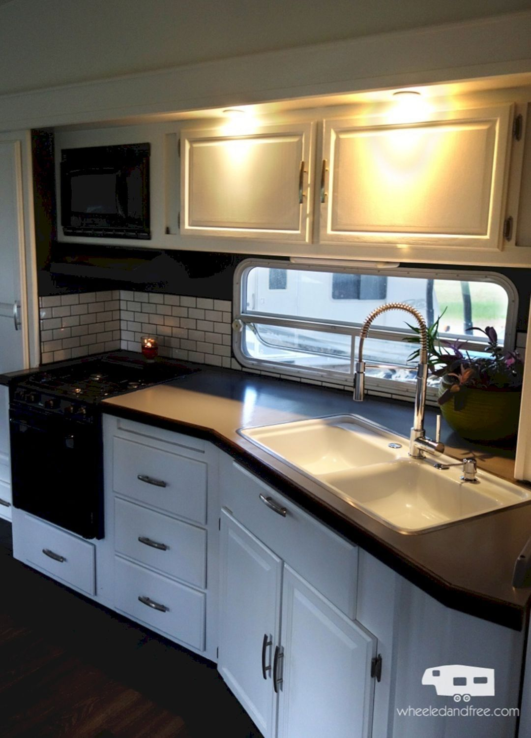 Amazing RV Kitchen Remodel For Enjoyable Cooking Outdoor 40+ Best Ideas - Remodeled campers, Rv kitchen remodel, Rv renovations, Camper living, Rv kitchen, Rv makeover - A kitchen is a hub to any home and it is said that a stunning kitchen may add enormous amounts of value to your property  It is considered as the central and very essential part of our home  It cou…