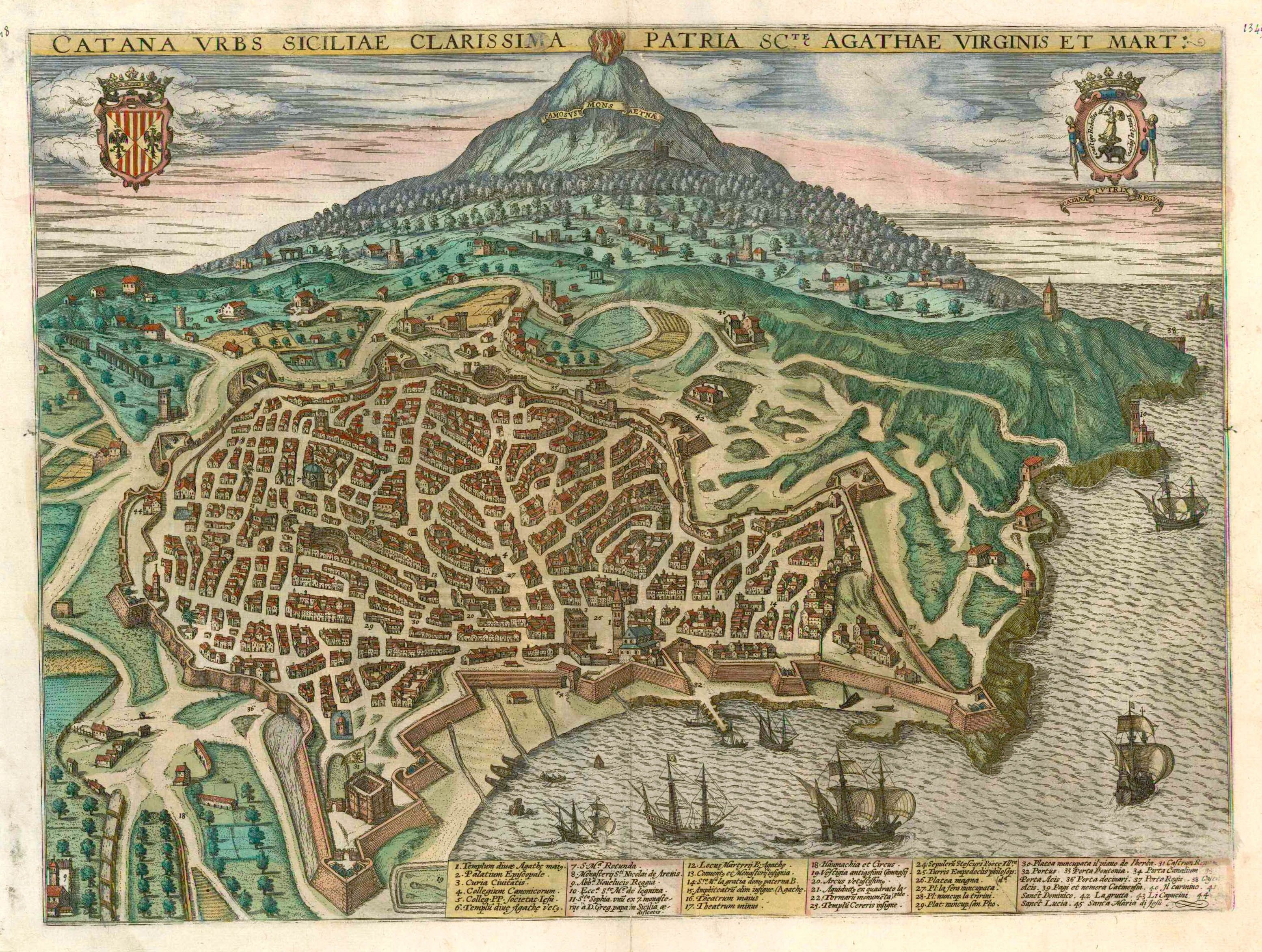 Antique map - bird's-eye view of Catania, with Mount Etna ...