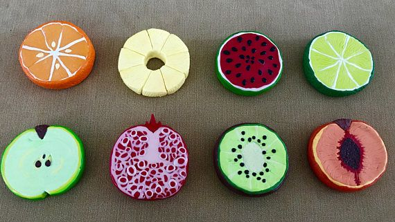 Set Of 8 Fruit Slice Pattern Weights Large Polymer Clay Pattern