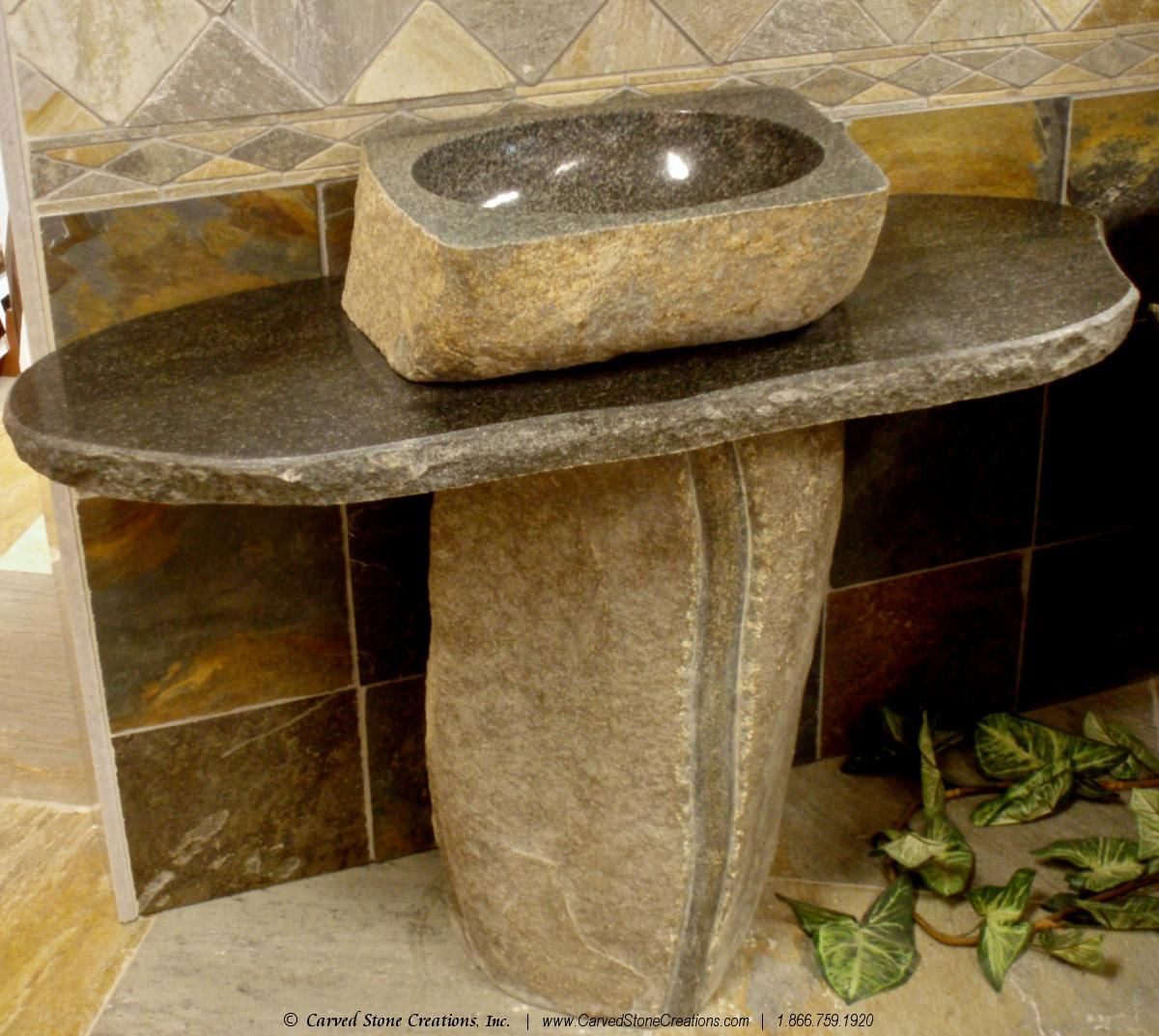 Natural Boulder Pedestal Sink From Carved Stone Creations. Click The  Picture For More Bathroom Design
