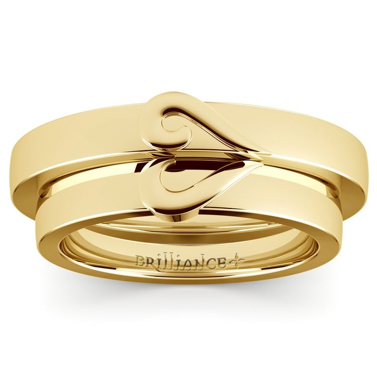 Matching Curled Heart Wedding Ring Set in Yellow Gold 02 bem