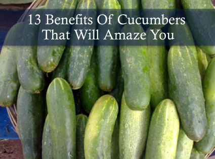 13 Benefits Of Cucumbers That Will Amaze You...http://homestead-and-survival.com/13-benefits-of-cucumbers-that-will-amaze-you/