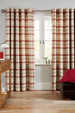 Buy Red Soft Check Eyelet Curtains From The Next UK Online Shop