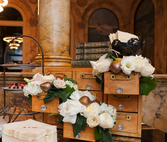 Boston Public Library Wedding: Library Vintage Card Drawers Used As Floral Display