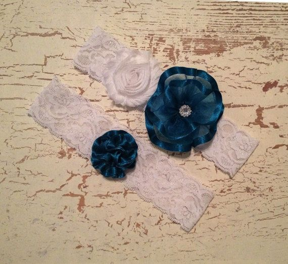 Teal Blue Wedding Garter Set Teal Blue by HavingFunWithCrafts, $24.99