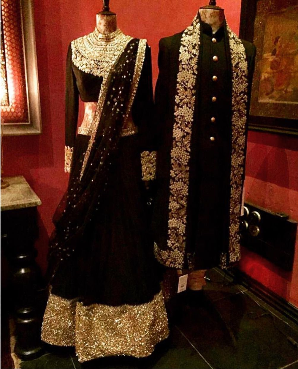 Sabyasachi mukherjee couture black and gold bridal lehenga u groom