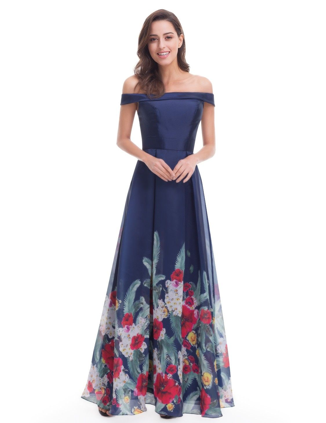 Off Shoulder Floral Print Evening Gown | my style in 2018 ...
