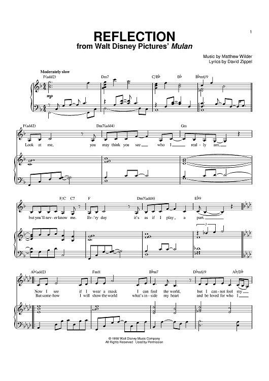 Reflection With Images Sheet Music Easy Piano Sheet Music