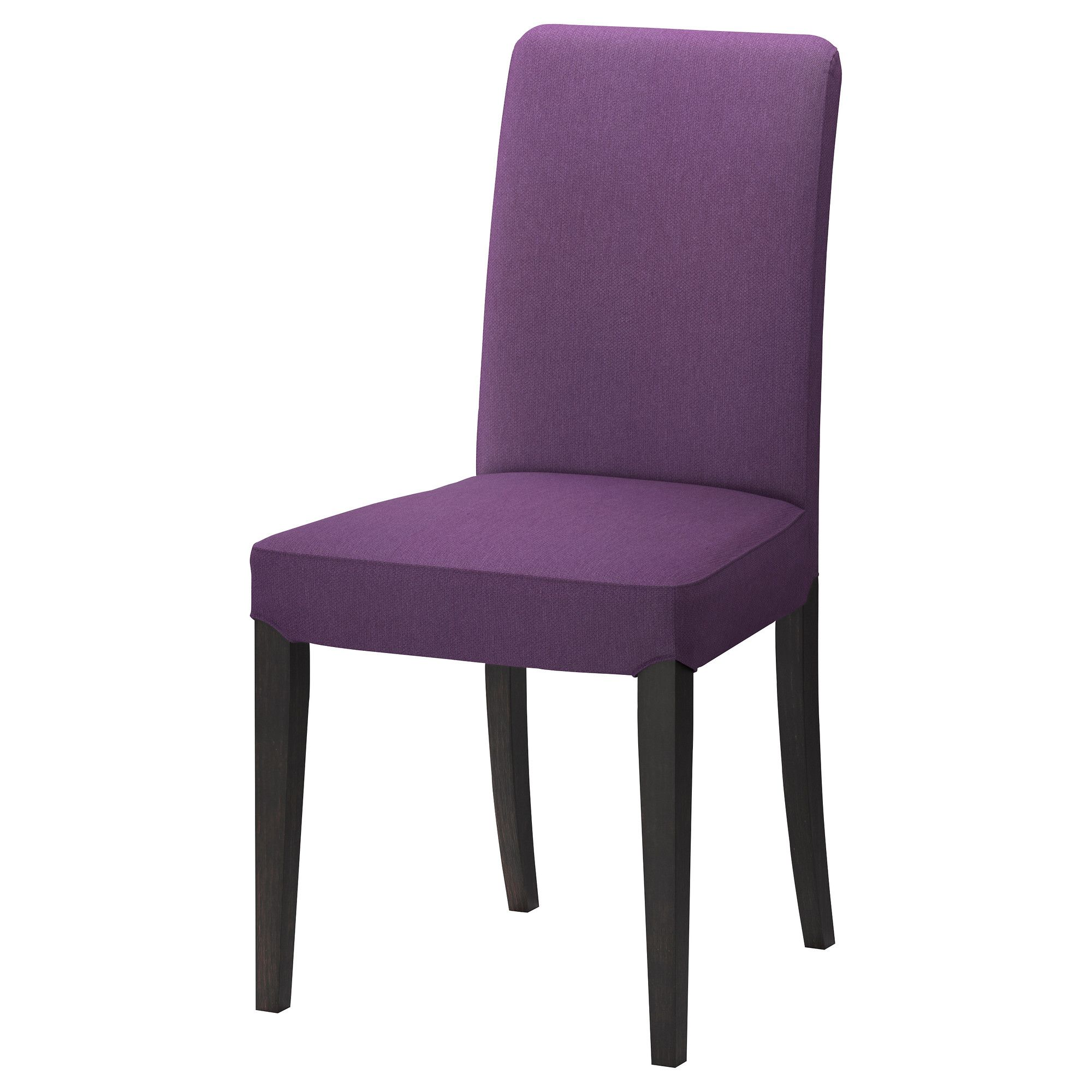 Scenic Purple Fabric Upholstered Dining Chairs Without Arms Added Black Wooden Base Legs As Decorate In Modern Room Ideas
