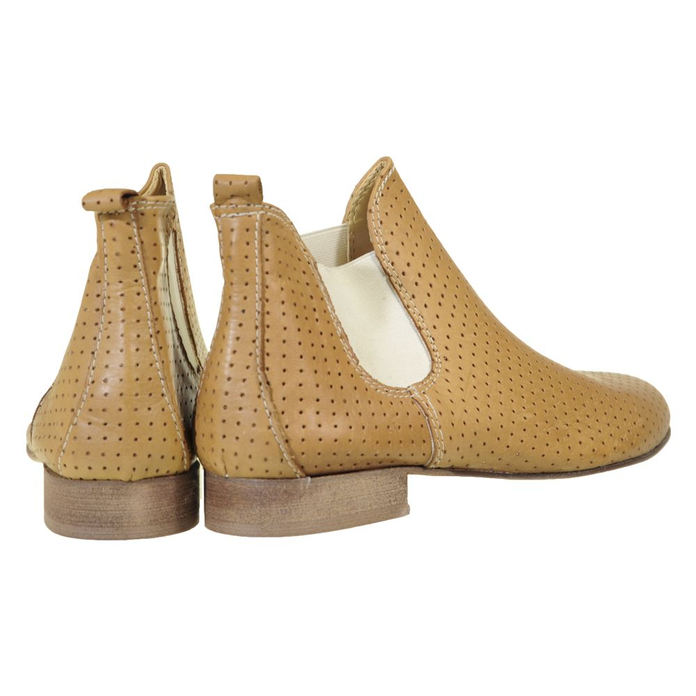 great perforated leather tan ankle boots