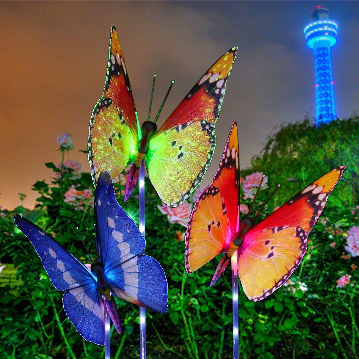 Garden Solar Lights Outdoor, KingSo 3-Pack Butterfly Decorative ...