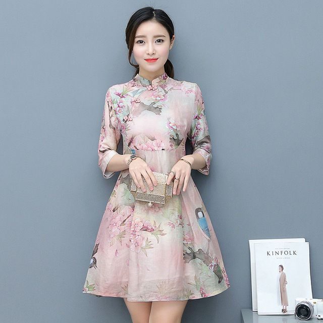 Cute Women Chinese Traditional Short Qipao Dress Flower Size S M L XL  Cotton Sexy Cheongsam Stand Collar Retro Elegant Clothing beb5e1955