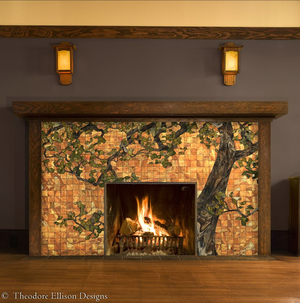 Oak tree glass mosaic for fireplace front by theodore for Bungalow fireplace ideas