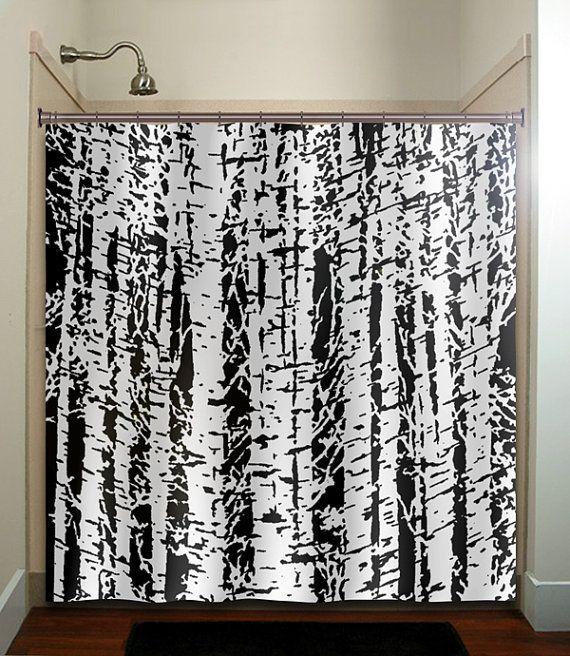 Forest woodland white birch trees shower curtain bathroom for Forest bathroom ideas