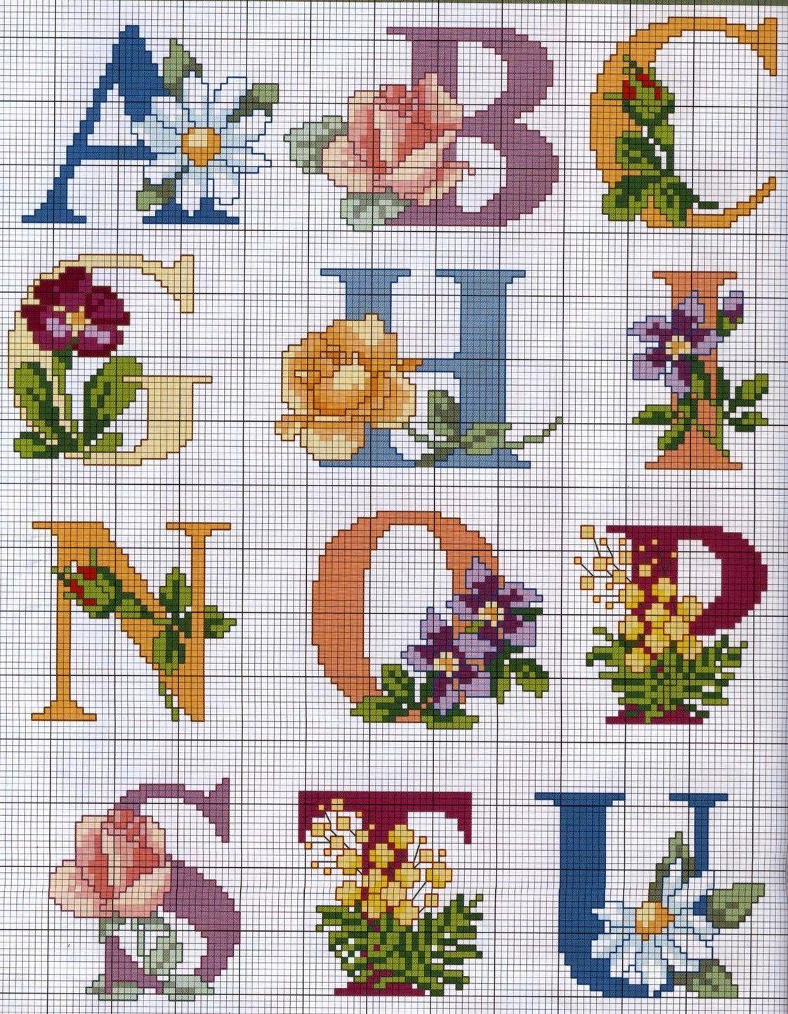 Monograma De Rosas 03 Com Imagens Fonte Ponto Cruz Ponto