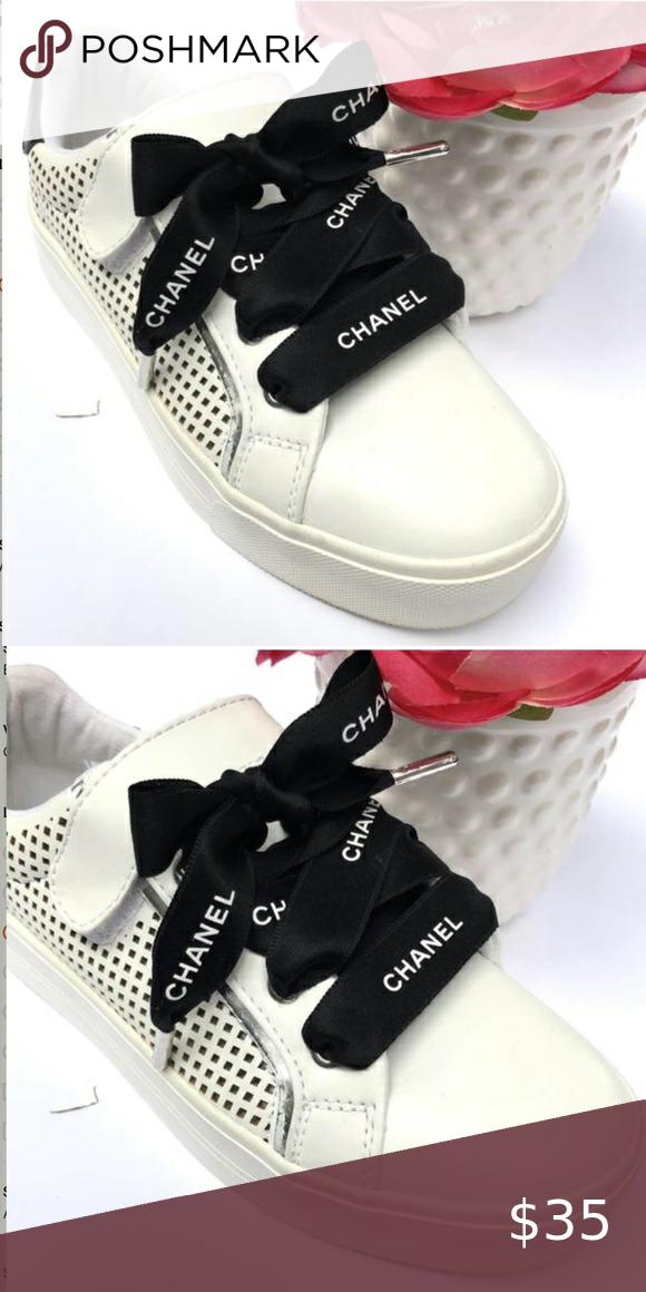 Designer Chanel black ribbon shoelace