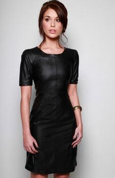 Roxie Faux Leather Zip back Shift Dress