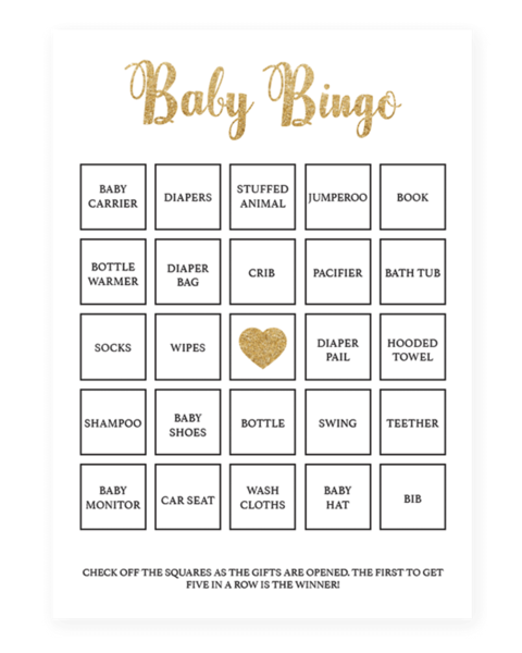 Printable Baby Shower Bingo Cards Gold Baby Bingo Baby Shower Printables Baby Shower Bingo