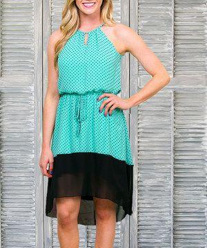 Look at this #zulilyfind! Seafoam Green Summer Stroll Polka Dot Dress - Women by Sawyer Cove #zulilyfinds