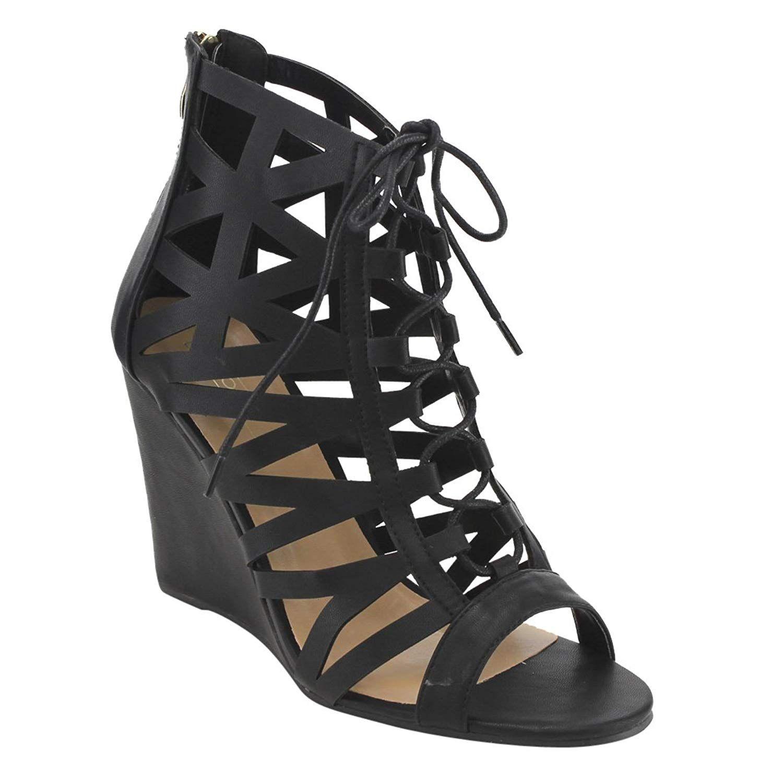 7a8564198e4046 YOKI EG03 Women s Caged Lace Up Back Zipper High Wedge Heel Dress Sandals