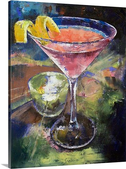 French Martini Painting Hand Painting Art Painting Prints