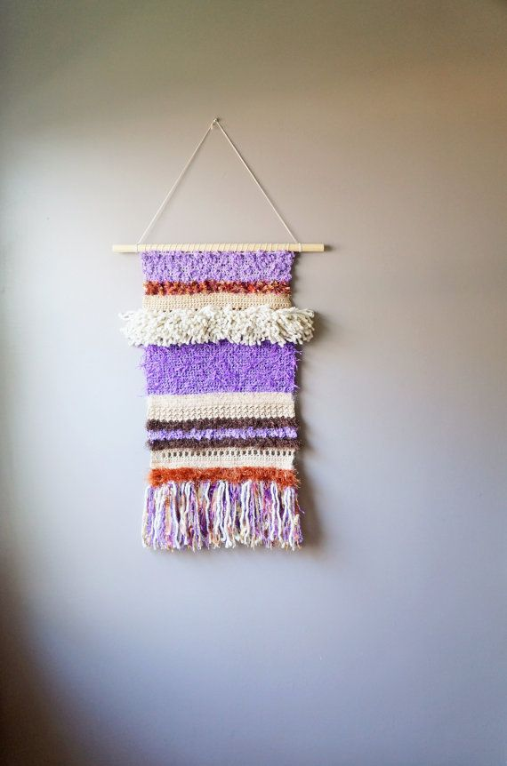 Woven Tapestry Wall Hangings modern tapestry / wall hanging / fringe tapestry / ooak crochet