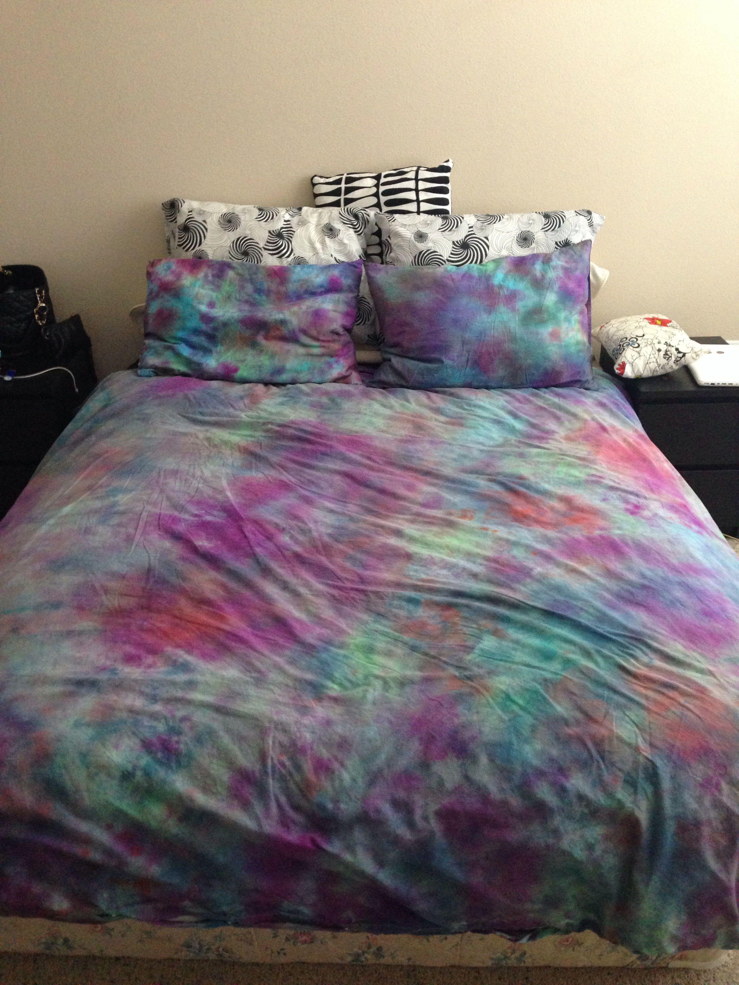 DIY tie dye bed sheets in 2019 Diy tie dye bedding, Tie