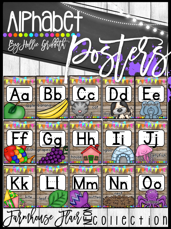Farmhouse Flair Neon Alphabet Posters Classroom Decor