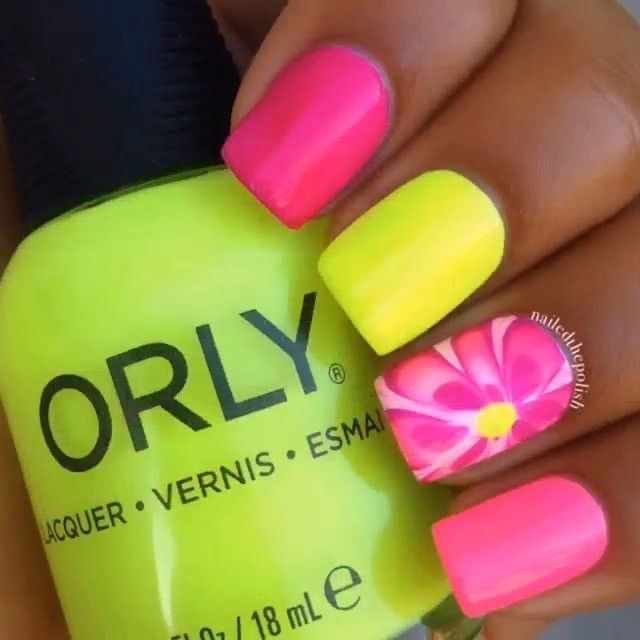 pink flower power with neon yellow accent nail | Nails | Pinterest ...