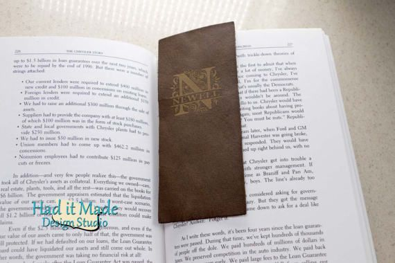 Monogram Bookmark BM-M3 Fine Leather Bookmark with by HadItMade
