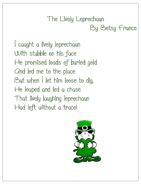 image about Printable Leprechaun Story identify The Active Leprechaun poem for St. Patricks Working day. No cost
